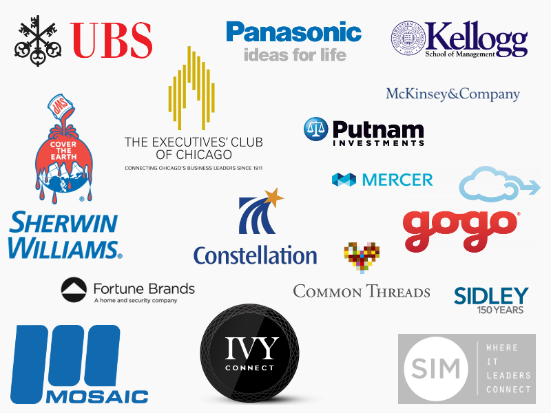 Logos for Common Threads, Mercer, Kellogg School of Business Management, UBS, McKinsey & Company, Sidley, Sherwin Williams, IVY, Putnam Investments, GoGo, Panasonic, Executives Club of Chicago, Constellation Brands, Mosaic, Fortune Brands, and SIM