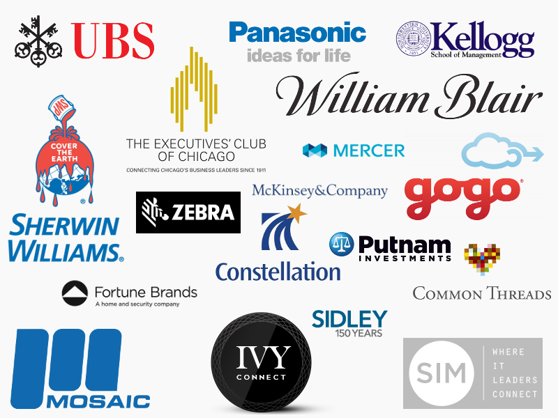 Logos for Common Threads, Mercer, Kellogg School of Business Management, UBS, McKinsey & Company, Sidley, Sherwin Williams, IVY, Putnam Investments, GoGo, Panasonic, Executives Club of Chicago, Constellation Brands, Mosaic, Fortune Brands, SIM, William Blair, and Zebra