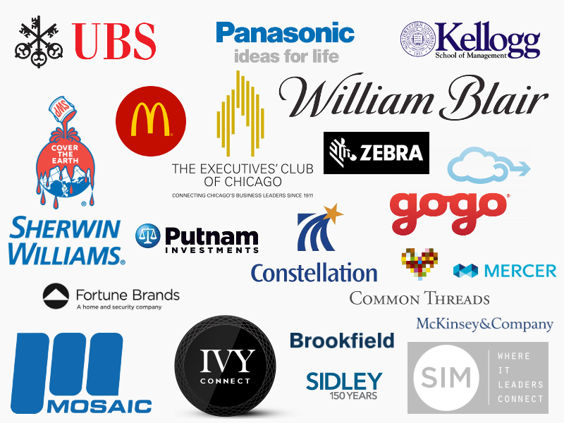 Logos for Brookfield, Common Threads, Constellation Brands, Executives Club of Chicago, Fortune Brands, GoGo, IVY, Kellogg School of Business Management, McKinsey & Company, Mercer, Mosaic, Panasonic, Putnam Investments, Sherwin Williams, Sidley, SIM, UBS, William Blair, and Zebra